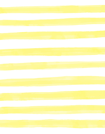Yellow Watercolor Stripes Pattern Background. Coastal Summer Concept. Design Element for Greeting Cards and Labels, Marketing, Business Card Abstract Background.