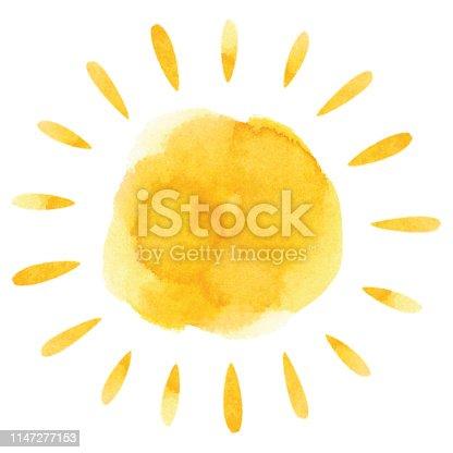 istock Yellow watercolor sun 1147277153