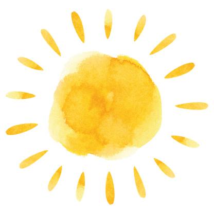 Yellow watercolor sun