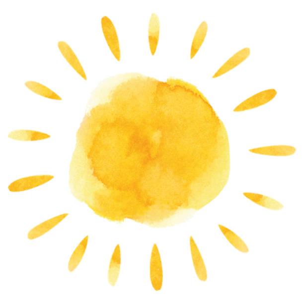 Yellow watercolor sun vector art illustration
