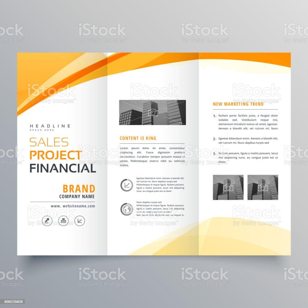 yellow wavy tri fold business brochure design template vector vector art illustration