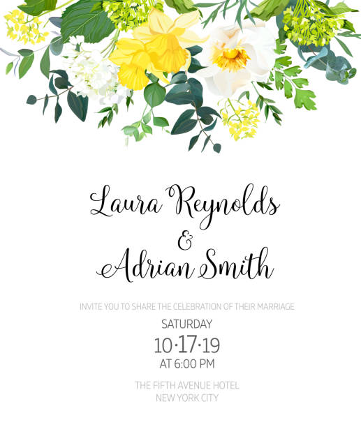 yellow wedding botanical vector flower design invitation - yellow stock illustrations
