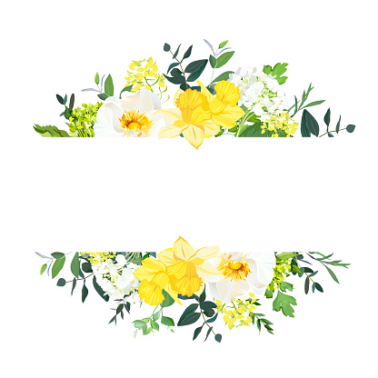 Yellow wedding horizontal botanical vector design banner