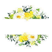 Yellow wedding horizontal botanical vector design banner. Daffodil, wild rose, white and green hydrangea, eucalyptus and wildflowers.Composition isolated on white background. All elements are editable