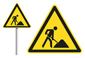 yellow worker sign vector set