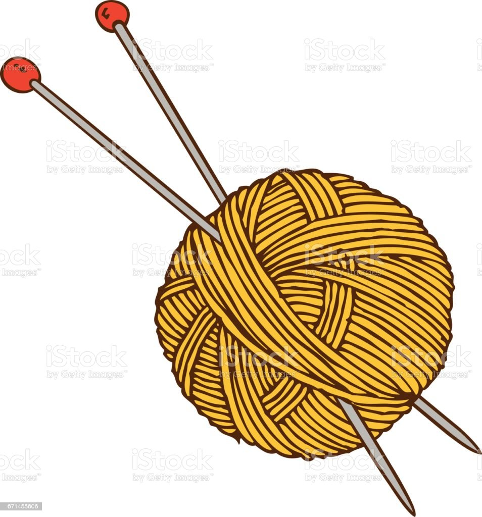Yellow Yarn Ball and Needles vector art illustration