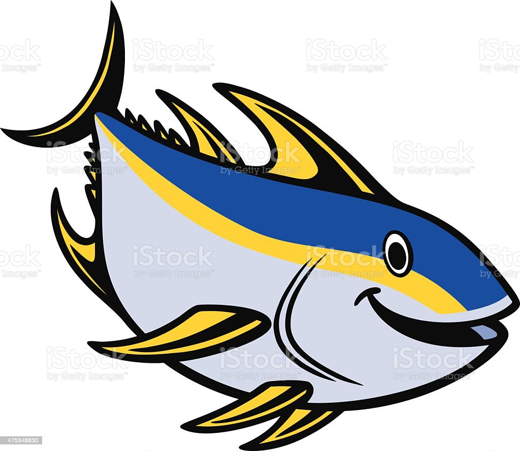 Yellowfin Tuna Diving vector art illustration