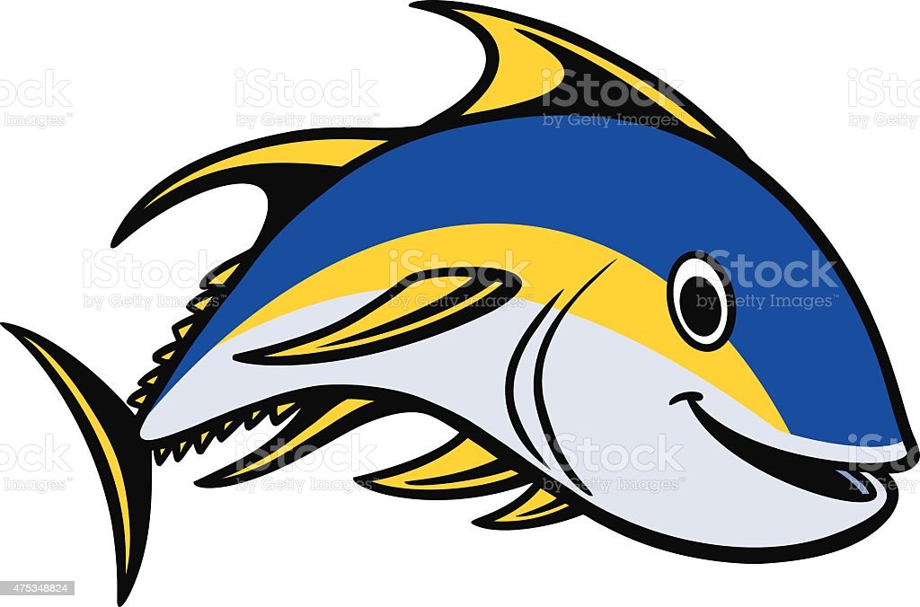 Yellowfin Tuna Swimming vector art illustration