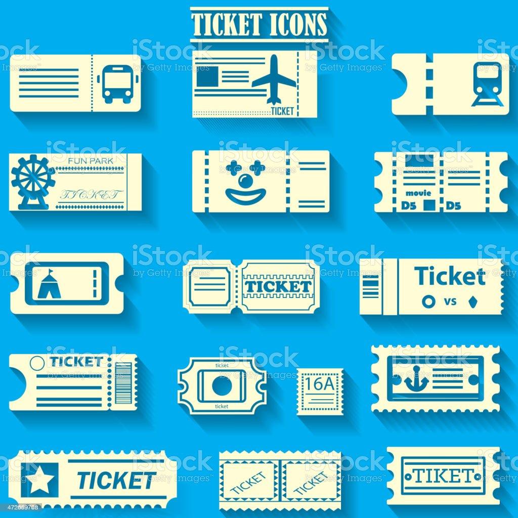 yellowr Farbe ticket-icons auf bluebackground – Vektorgrafik