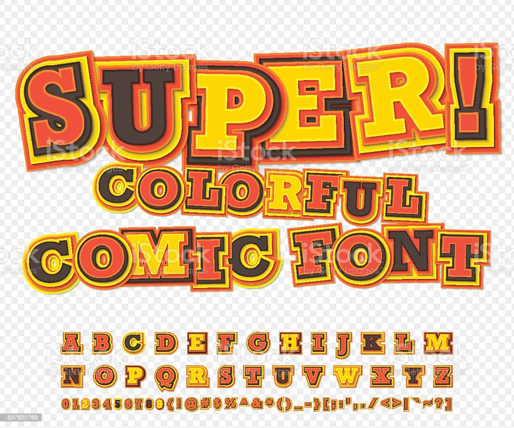 Yellow-red comic font, alphabet. Comics book, pop art vector art illustration