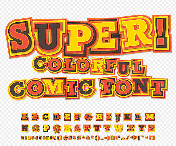 Yellow-red comic font, alphabet. Comics book, pop art vector art illustration