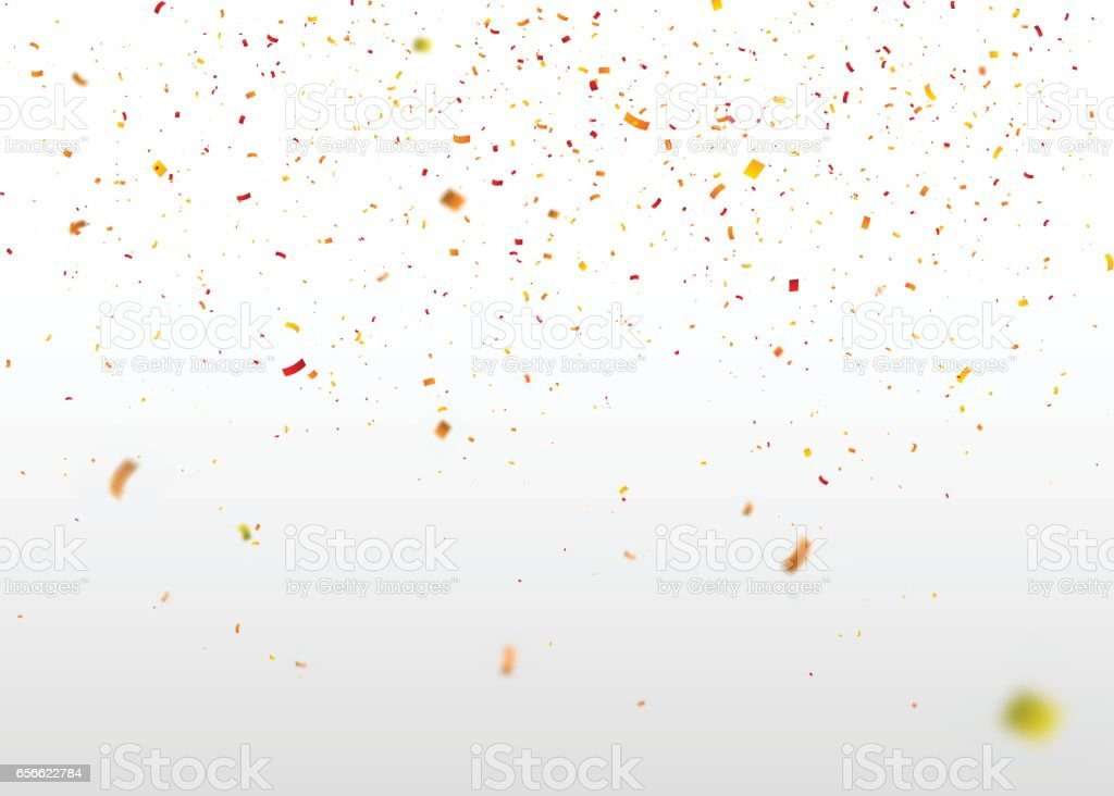 Yellow-red confetti falling randomly. Abstract background with flying particles. vector art illustration
