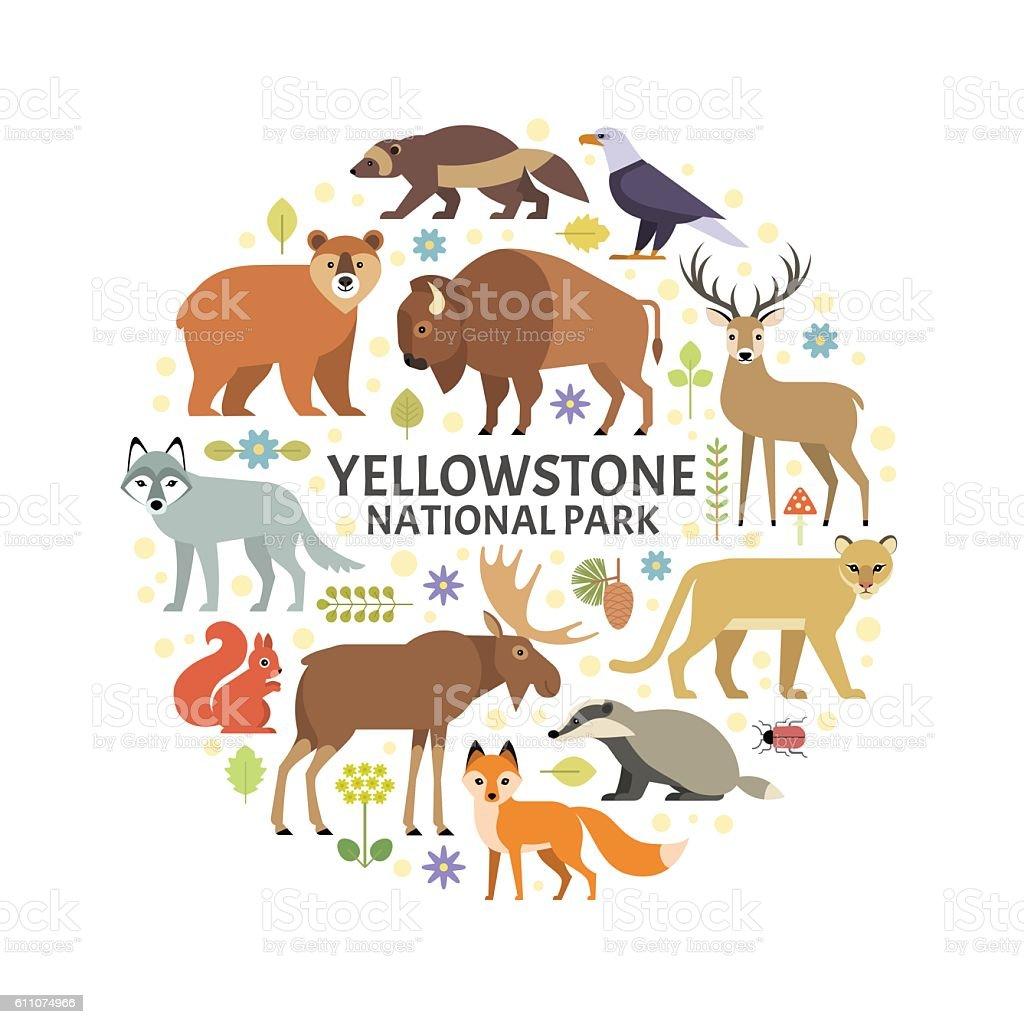 Yellowstone animals vector art illustration