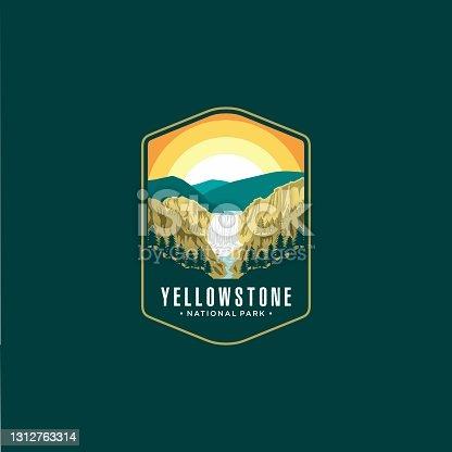 Yellowstone Falls National Park Emblem patch design illustration