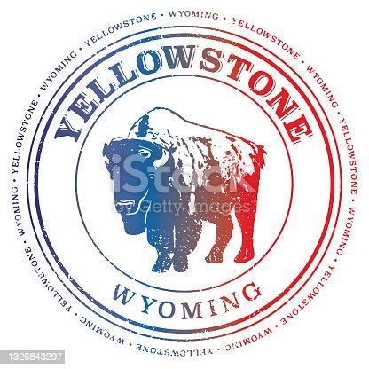 Yellowstone Wyoming Retro Travel Stamp