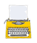 yellowTypewriter old hand drawn with paper cute art illustration