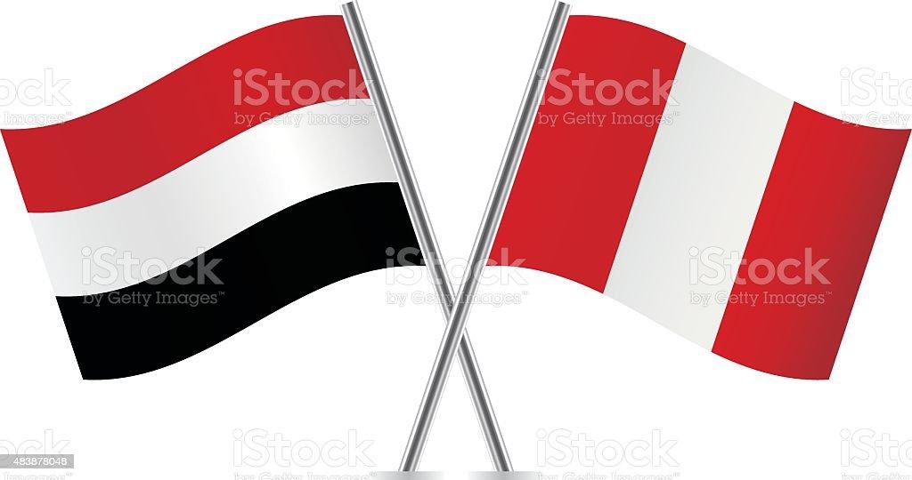 イエメン、ペルー国旗。ベクトルます。 ベクターアートイラスト