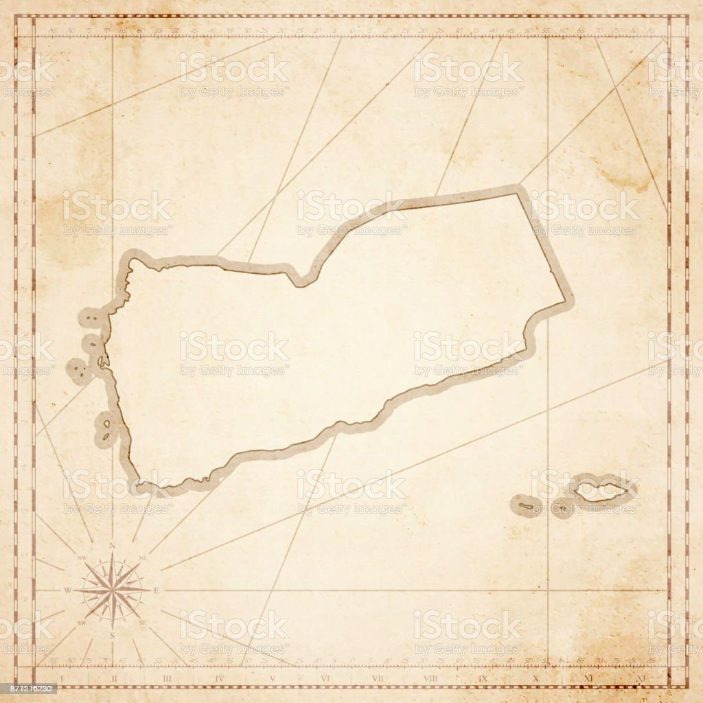 Yemen Map In Retro Vintage Style