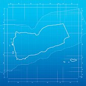 Yemen map on blueprint background