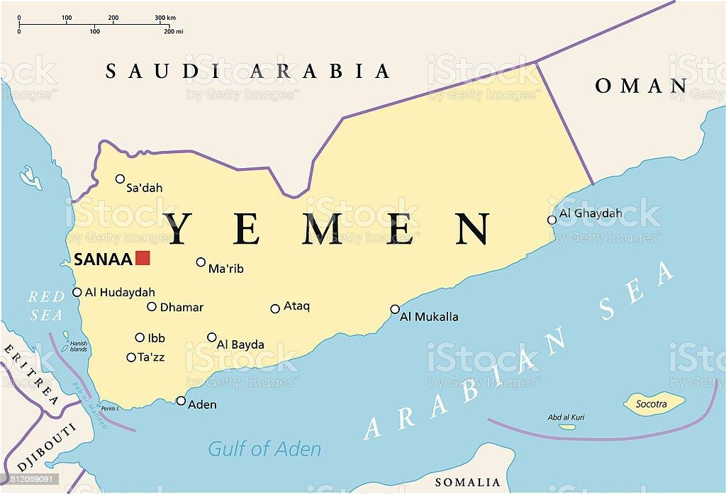 Yemen Political Map Stock Vector Art More Images of Aden 512059091