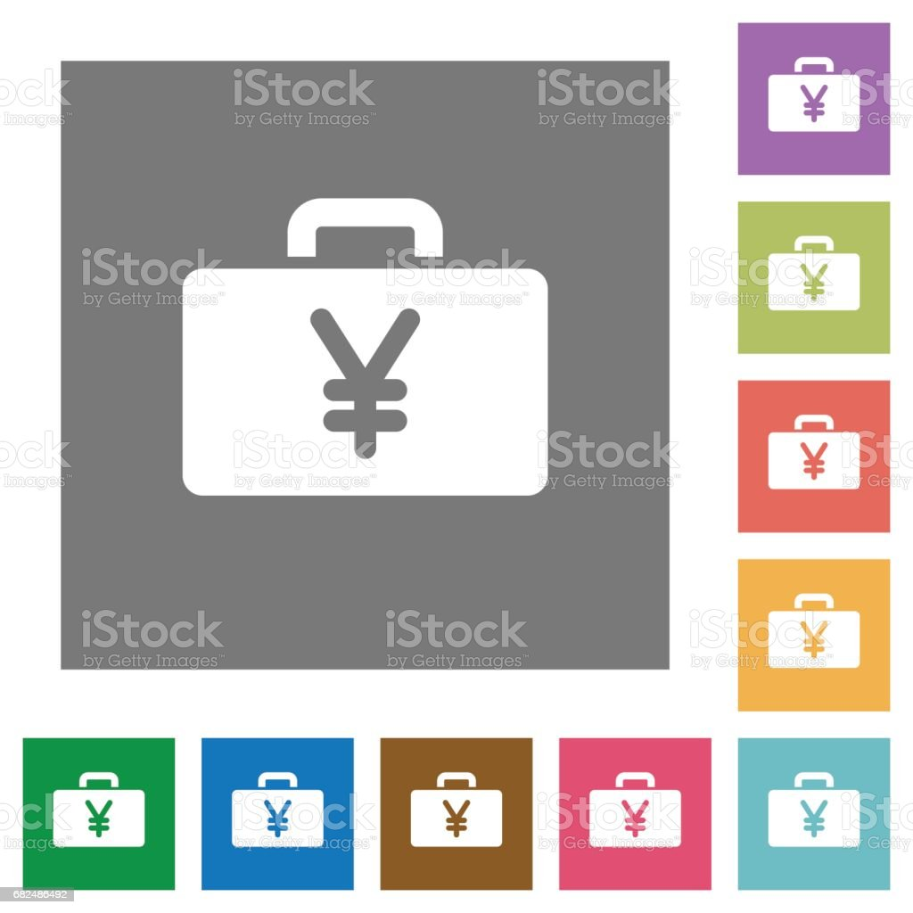 Yen bag square flat icons royalty-free yen bag square flat icons stock vector art & more images of abundance