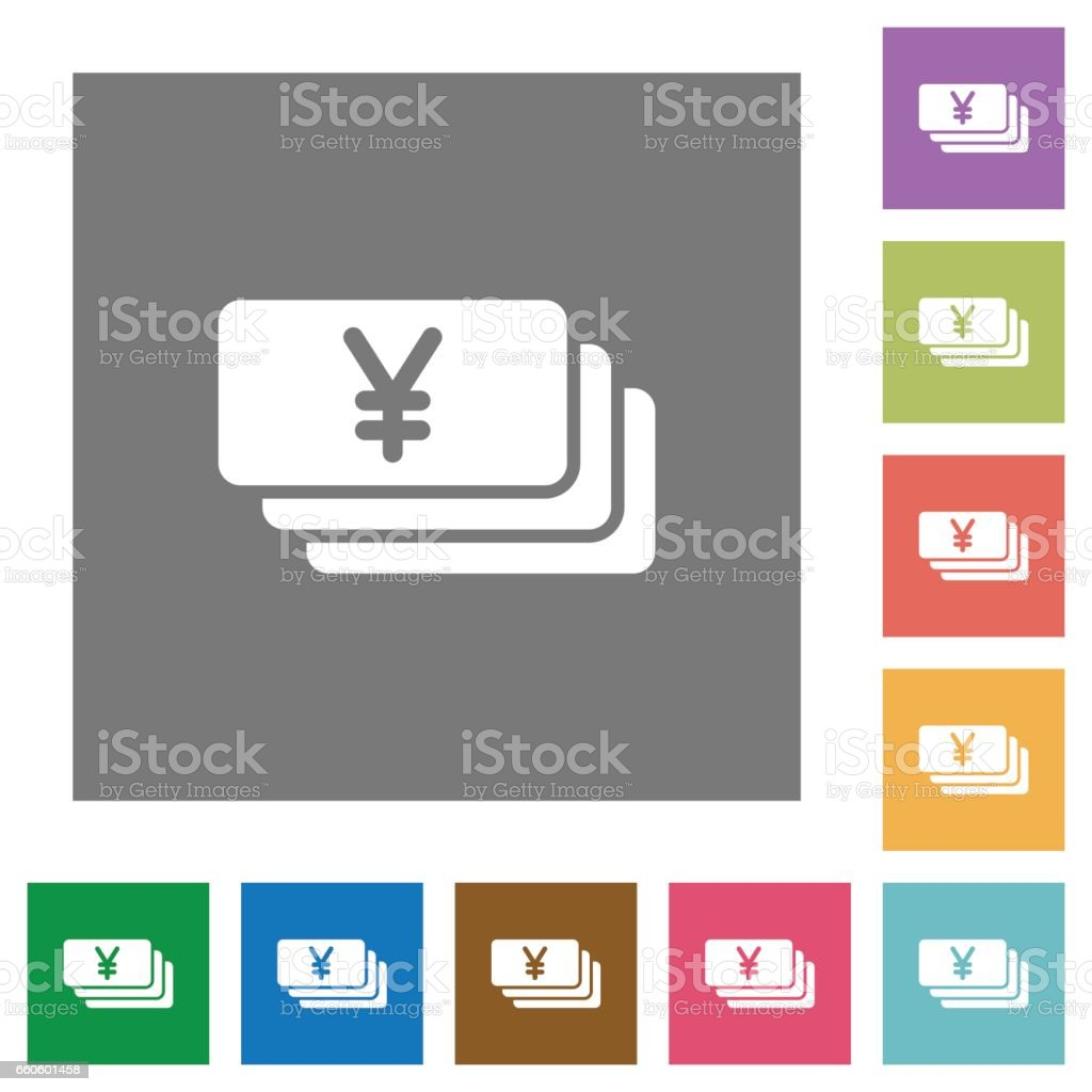 Yen banknotes square flat icons royalty-free yen banknotes square flat icons stock vector art & more images of applying