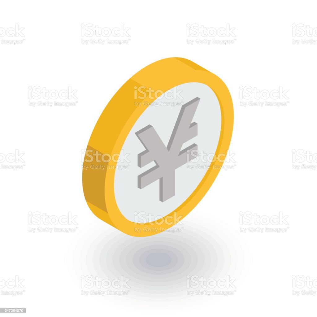 yen coin, money, finance, currency isometric flat icon. 3d vector vector art illustration
