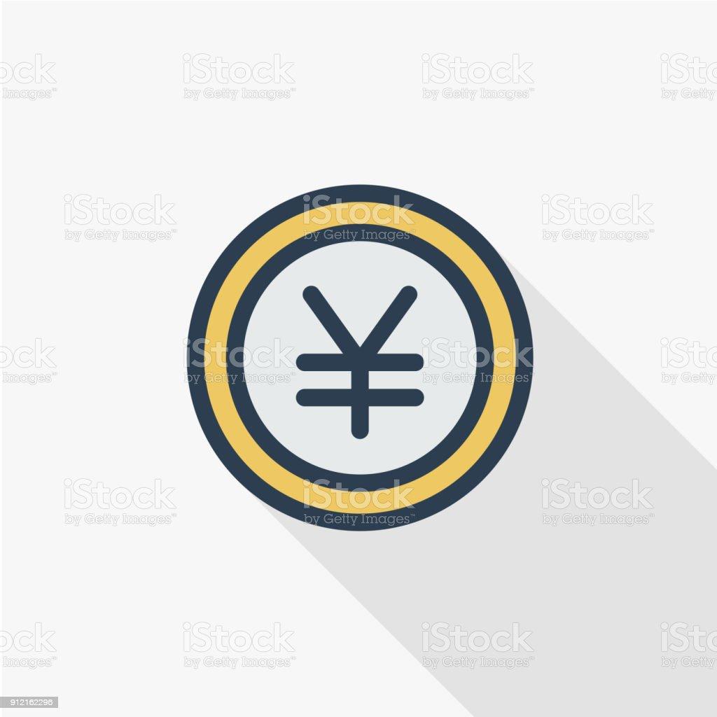 Yen coin money finance currency thin line flat color icon linear yen coin money finance currency thin line flat color icon linear vector biocorpaavc