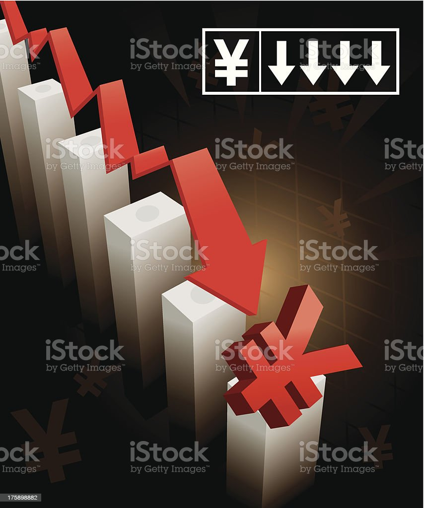 Yen Currency Crash royalty-free stock vector art