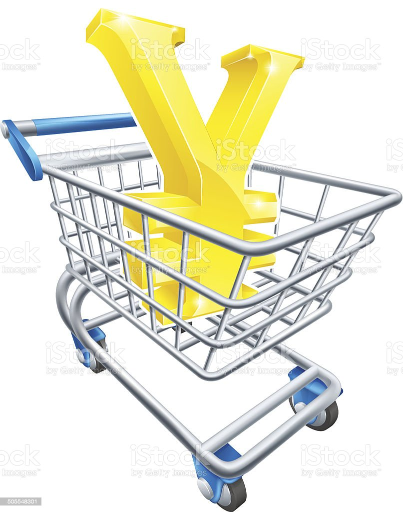 Yen currency shopping cart royalty-free stock vector art