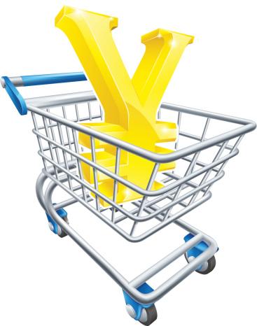 Yen currency shopping cart