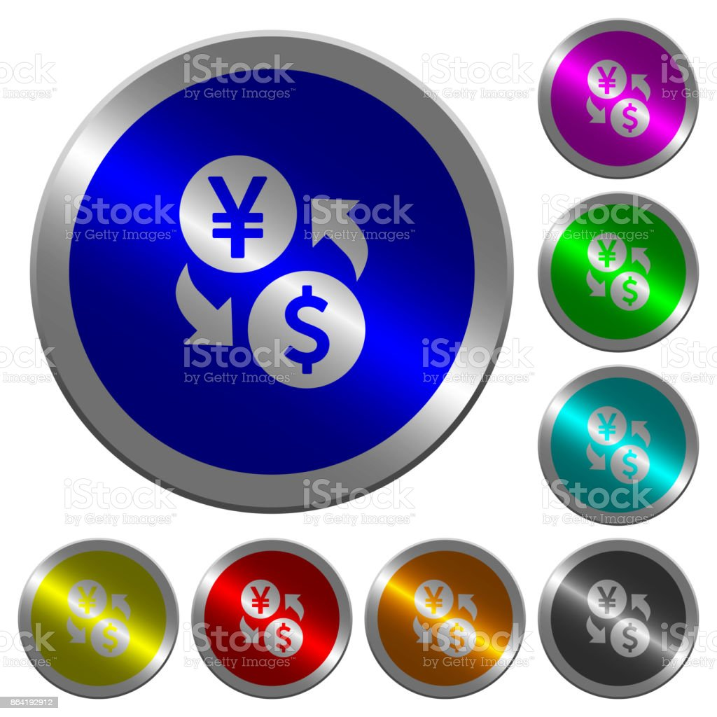 Yen Dollar money exchange luminous coin-like round color buttons royalty-free yen dollar money exchange luminous coinlike round color buttons stock vector art & more images of banking