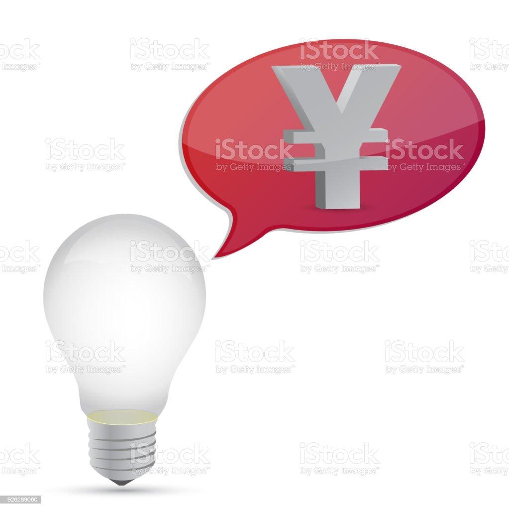 yen energy saving bulb illustration design over white vector art illustration