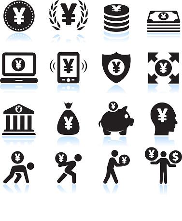 Yen Money and Finance Black & White vector icon set