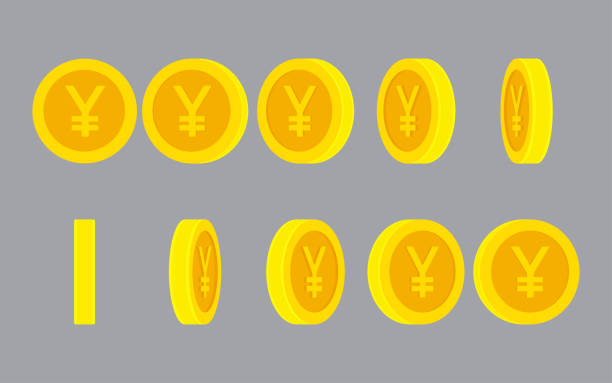 Yen or Yuan coin rotating animation sprite sheet on plain background Yen or Yuan coin rotating. Vector sprite sheet isolated on plain background. Can be used for GIF animation yuan symbol stock illustrations