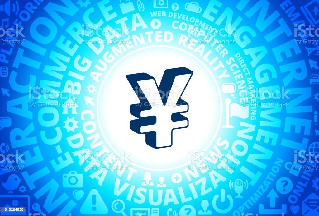 Yen Sign Icon on Internet Modern Technology Words Background vector art illustration