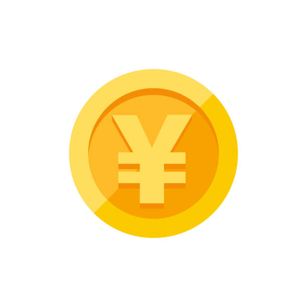 Yen symbol on gold coin flat style Chinese yuan or Japanese yen currency symbol on gold coin, money sign flat style vector illustration isolated on white background yuan symbol stock illustrations