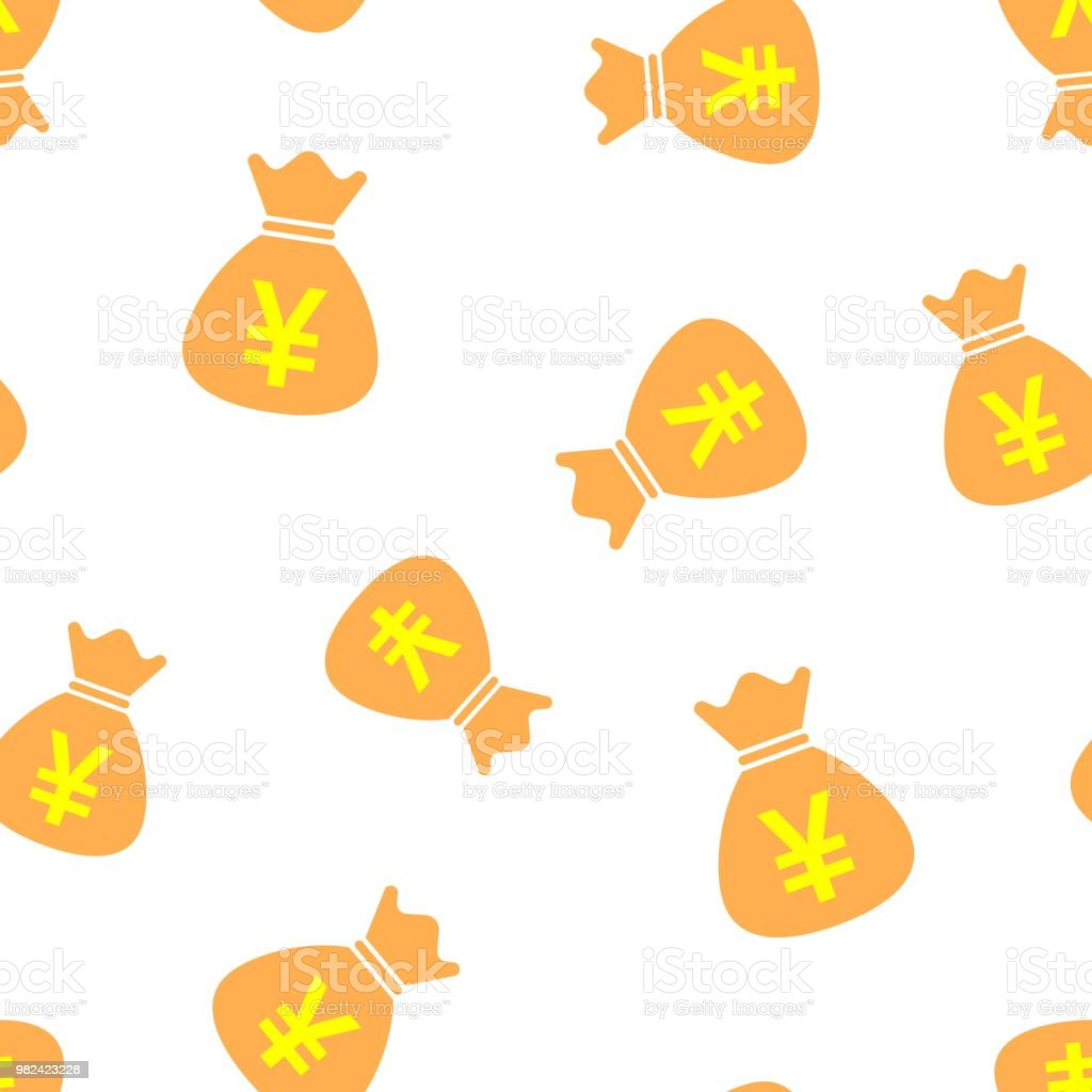 Yen Yuan Bag Money Currency Icon Seamless Pattern Background
