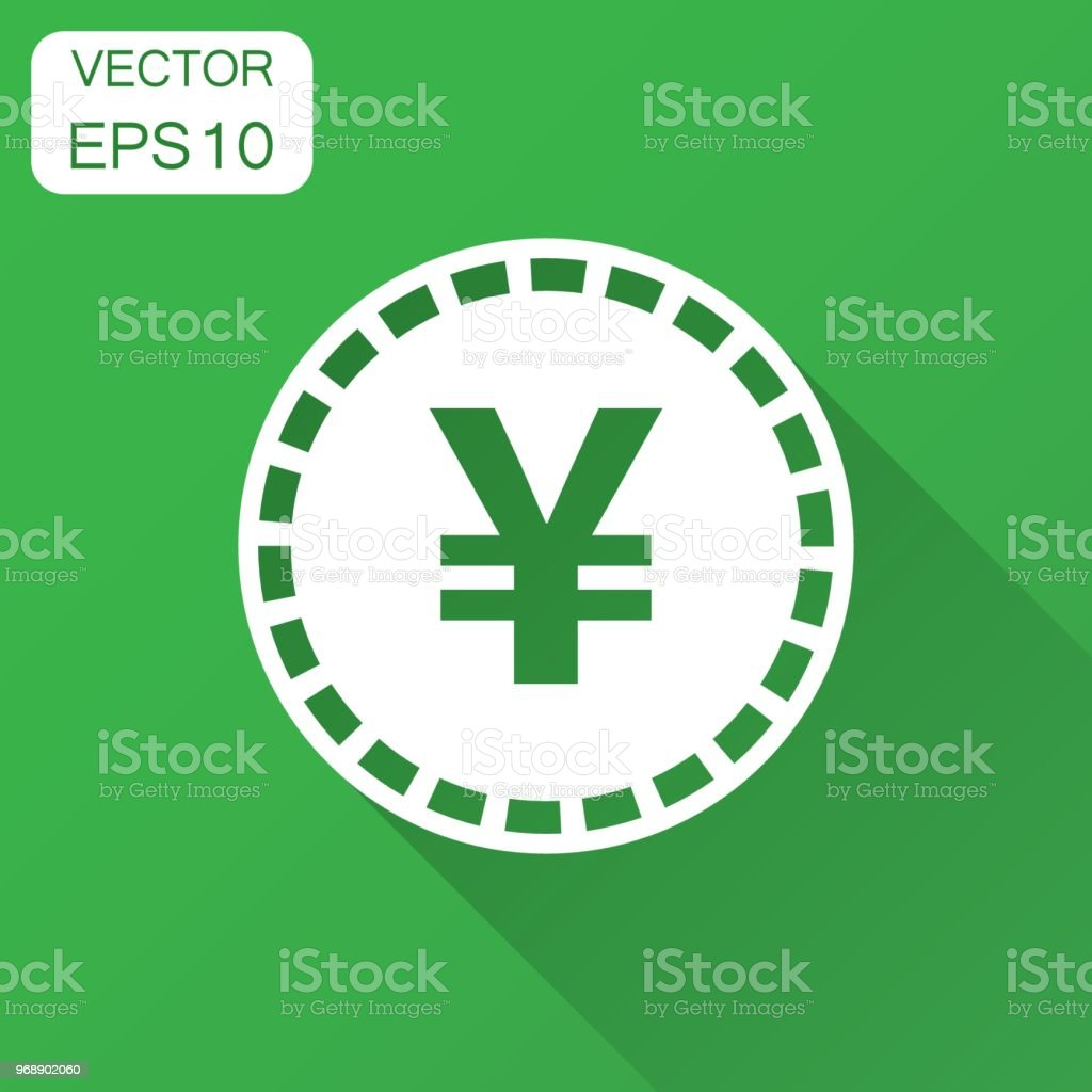 Yen, yuan money currency vector icon in flat style. Yen coin symbol illustration with long shadow. Asia money business concept. vector art illustration