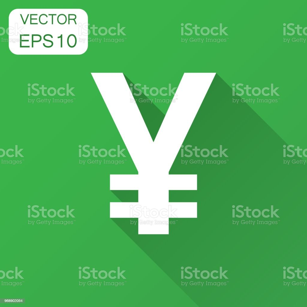 Yen, yuan money currency vector icon in flat style. Yen symbol illustration with long shadow. Asia money business concept. vector art illustration