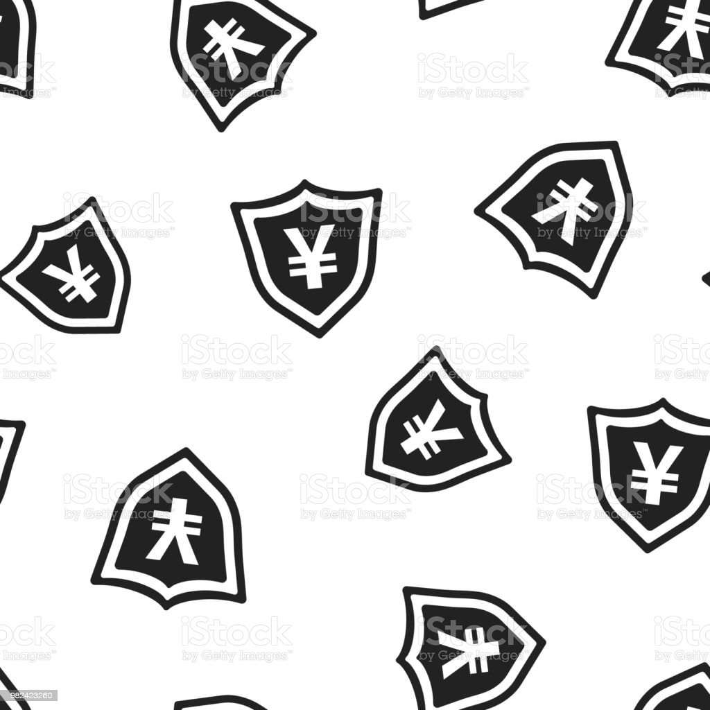 Yen Yuan Shield Money Currency Icon Seamless Pattern Background