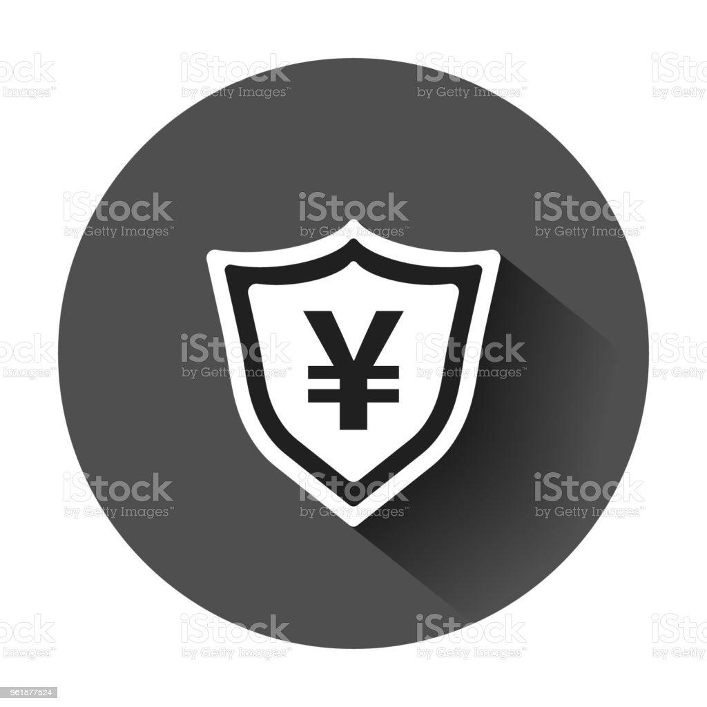 Yen Yuan Shield Money Currency Vector Icon In Flat Style Yen Coin