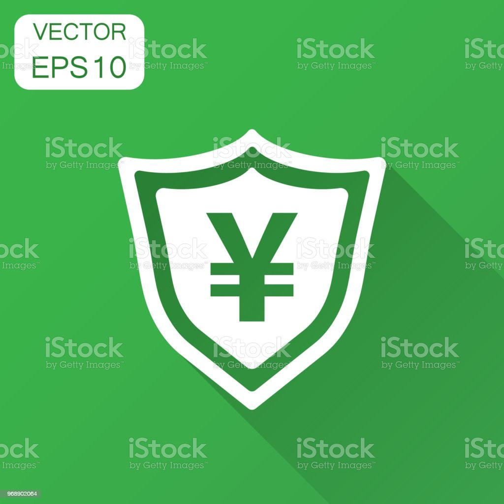 Yen, yuan shield money currency vector icon in flat style. Yen coin protection symbol illustration with long shadow. Asia money business concept. vector art illustration