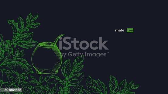 istock Yerba mate. Green plant set, calabash. Vector bush 1304864555