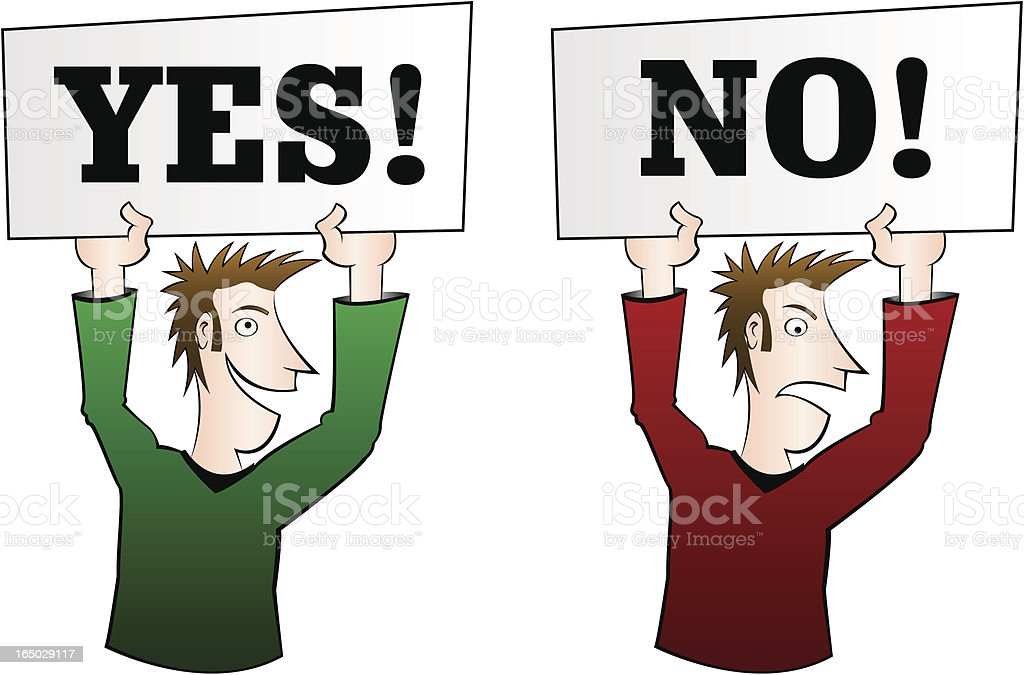 Yes and No cartoons vector art illustration