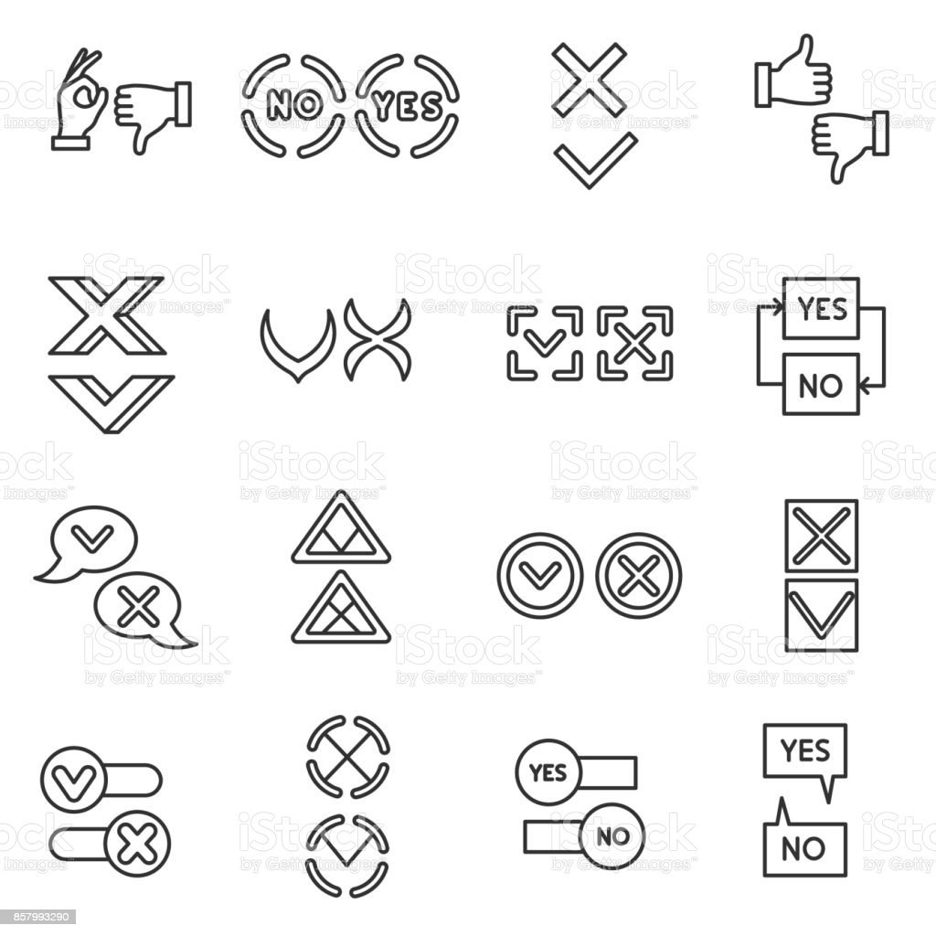 'Yes' and 'no' icons set. vector art illustration