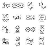 'Yes' and 'no' icons set.