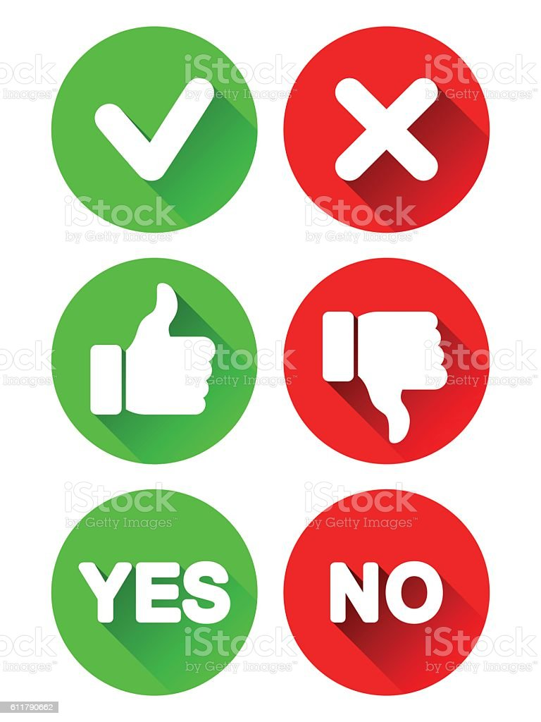 Yes and No Icons vector art illustration