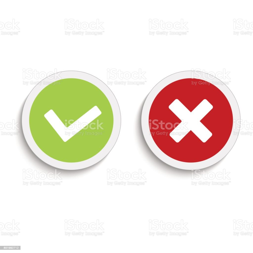 Yes and no round icons with soft shadow on the white background. Vector illustration.