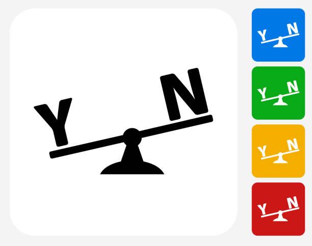 illustrazioni stock, clip art, cartoni animati e icone di tendenza di sì e no scala progettazione grafico icona piatta - balance graphics